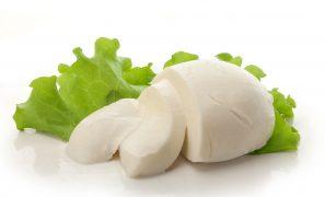 94717920 - sliced ball of mozzarella with fresh green lettuce